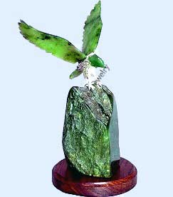 Jade 4 inch Eagle On Base Figurine (HNW-1839-S)