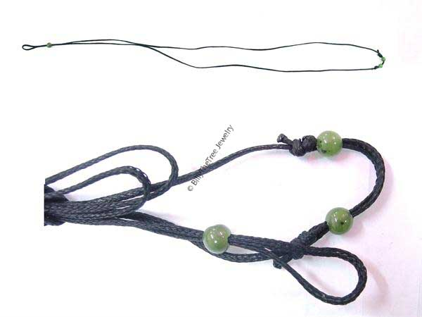 Wax Cord w/ Jade Beads Adjustable