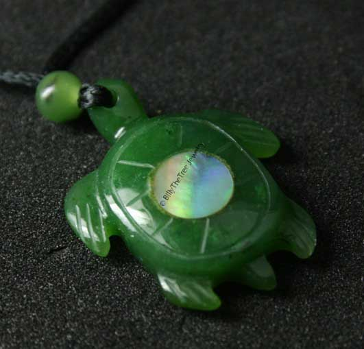 Jade Turtle Pendant with Abalone (HNW-1970 25MM) - DISCONTINUED