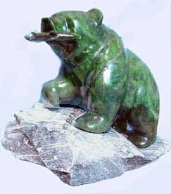 Jade Bear On Granite Base Figurine (HNW-2025)