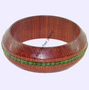 Jade Wood Bangle Bracelet (HNW-3172) - DISCONTINUED