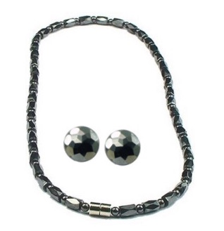 Hematite Diamond Cut Set - Magnetic Therapy Necklace and Earring Set