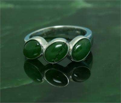 Polar Jade Ring w/Triple Oval Stones (R0112)