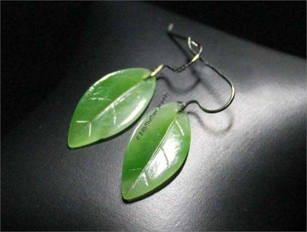 Small Jade Leaf Earrings (1950-H)