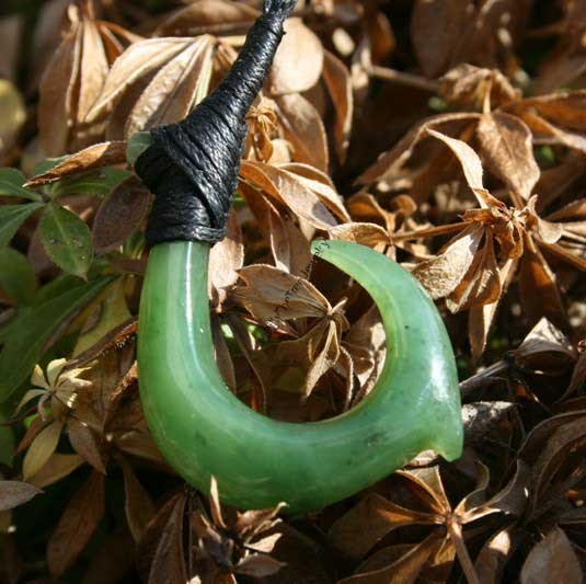 Jade Maori Fish Hook Pendant (HNW-3743) - DISCONTINUED