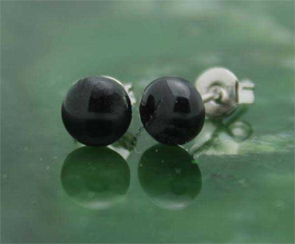 Black Jade Stud Earrings (UHJKK-0577)