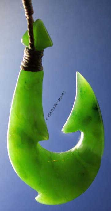 Jade Fish Hook Pendant (HNW-3345) - DISCONTINUED