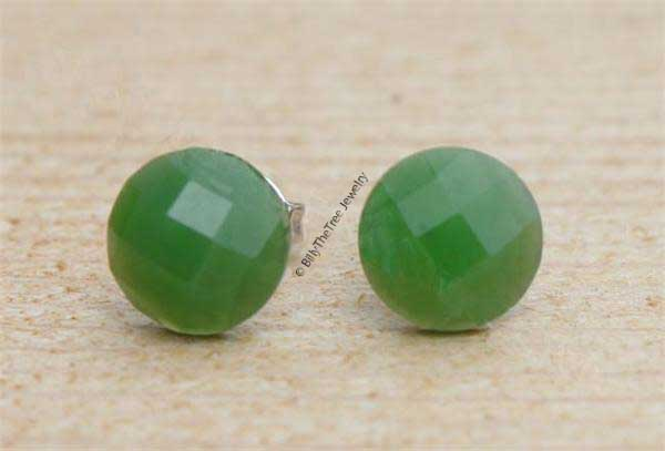 Faceted Jade Stud Earrings (0577)