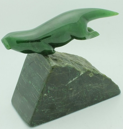 Jade Swimming Otter Figurine on Base (Multiple Sizes Available) (HNW-056)
