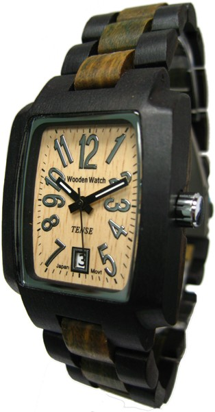 Tense Wooden Watch - Mens Rectangular Dark/ Green Sandalwood Sport Watch - DISCONTINUED