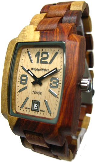 Tense Wooden Watch - Men's Rectangular Dual-tone Sandalwood Sport Watch