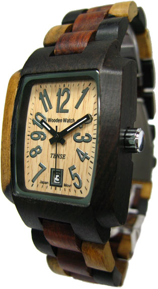 Tense Wooden Watch - Mens Rectangular Dark Dual-tone/ Sandalwood Sport Watch - DISCONTINUED
