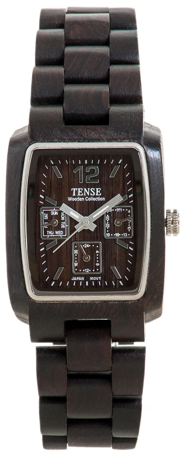 Tense Wooden Watch - Men's Alpine Rectangular Watch w/ Day & Date (J8302D)