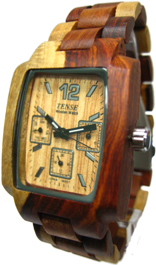 Tense Wooden Watch - Men's Rectangular Multi-function Dual-tone Sandalwood Watch