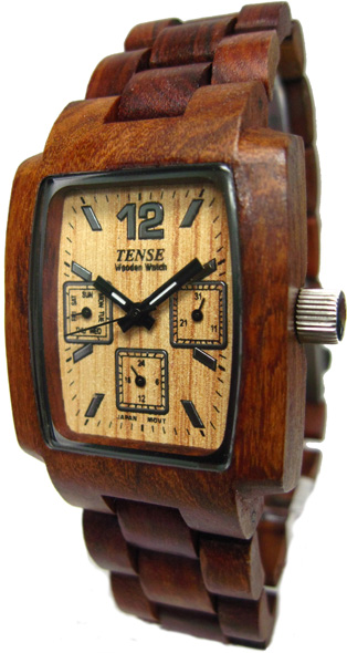 Tense Wooden Watch - Mens Rectangular Multi-function Sandalwood Watch - DISCONTINUED