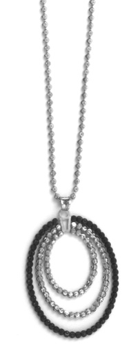"Officina Bernardi - Stella Collection - 18"" + 2"" Cutout Oval Necklace (4 Color Choice) - Italian 925 Sterling Silver"