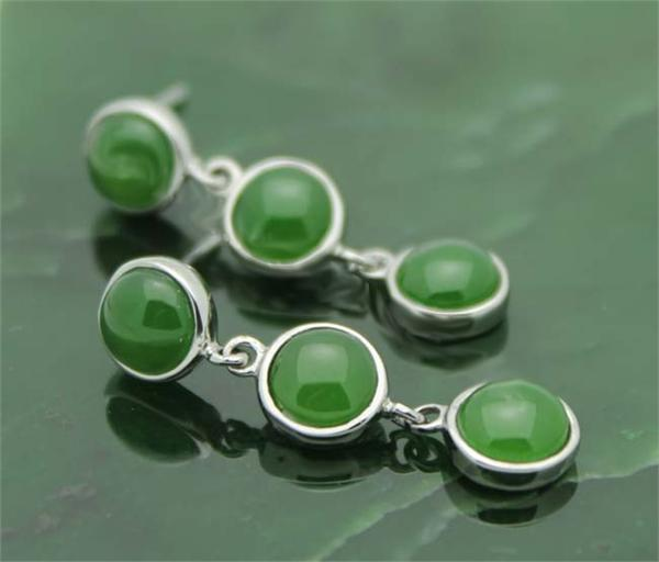 Three Stone Jade Drop Earrings (E0004)