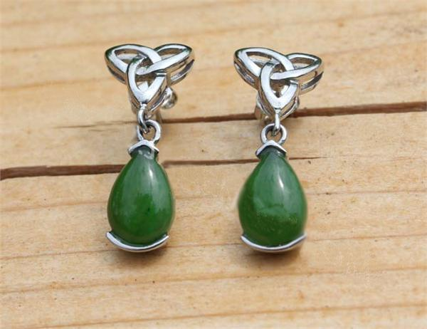 Jade Celtic Drop Earrings (E0009)
