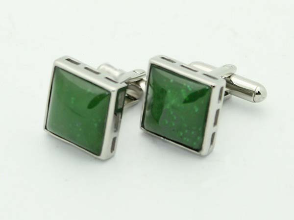 Jade Oval Cufflinks (B003-ST) - DISCONTINUED