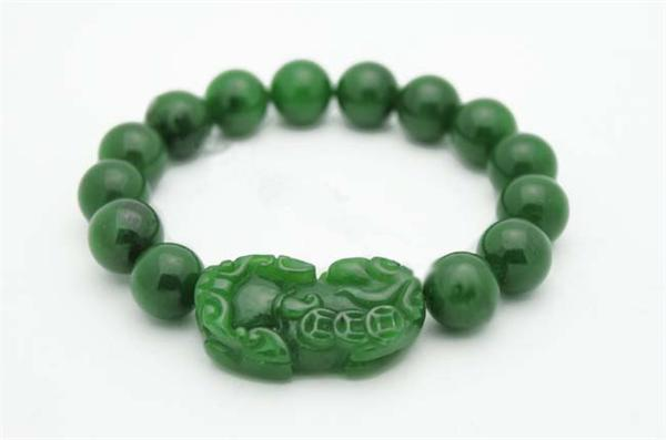 "Jade Foo Dog Bracelet 12mm (7/16"") (HNW-4165)"