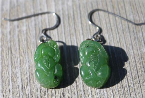Jade Foo Dog Dangle Earrings (4163-H)