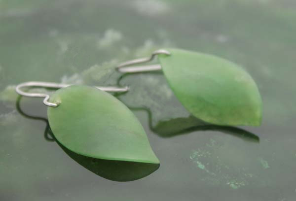 Jade Leaf Dangle Earrings (UJKK-1884)-1