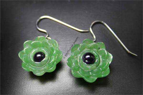 Jade Lotus Flower Earrings (HNW-4198-H)-1 - DISCONTINUED