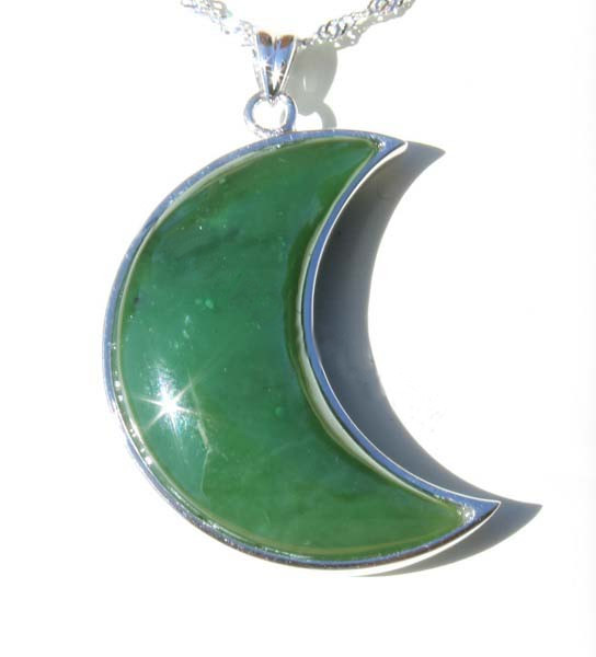 Double-Sided Jade Moon Pendant (KP0903) - DISCONTINUED