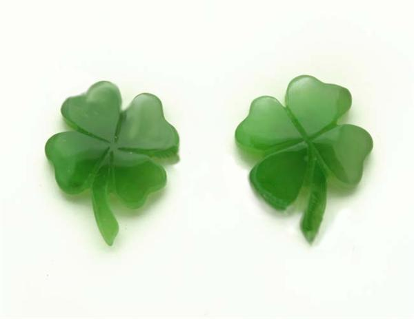 Jade Shamrock Stud Earrings (2175-E)-1