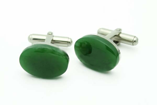 Jade Oval Cufflinks (B0031)