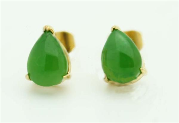 Jade Tear Drop Stud Earrings (UJKK-E0014-ST)-1