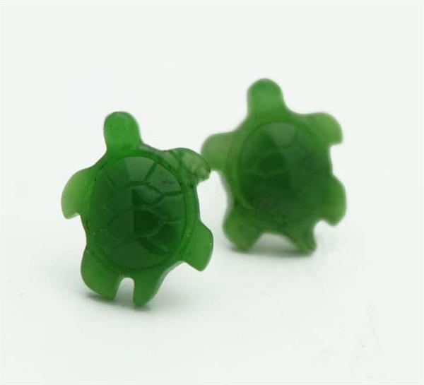 Jade Turtle Stud Earrings (UJKK-1543-2)-1
