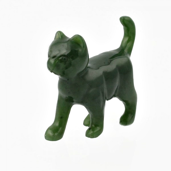Jade Figurines Walking Cat Beautiful Carved Jade Figurine
