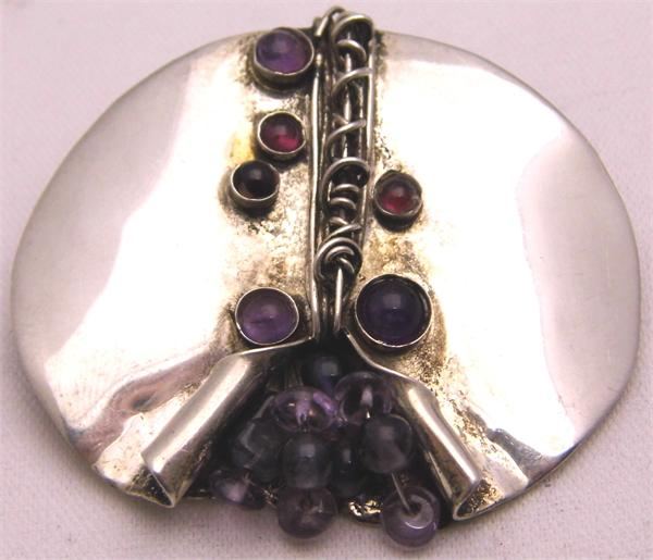925 Sterling Silver Oval Pin w/ Amethyst & Garnet - Vintage / Estate Collection - SOLD