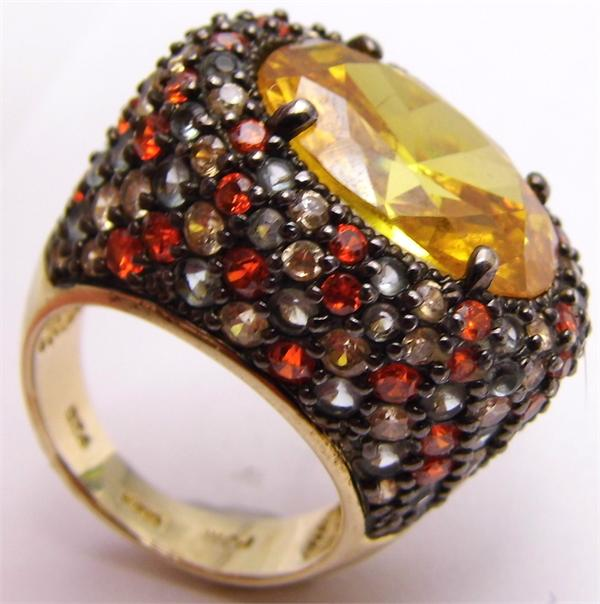 Size 7 Vermeil Gold Plate 925 Sterling Silver Ring Oval Orange CZ Colored Accent - Vintage / Estate Collection - SOLD