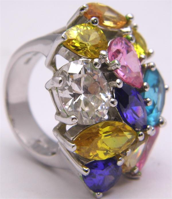 Size 7 Multicolor CZ Bloom 925 Sterling Silver Ring - Vintage / Estate Collection - SOLD