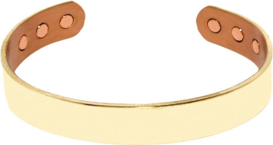 Gold Plated Real Mans Choice- Solid Copper Magnetic Therapy Cuff Bracelet (kw159gc)
