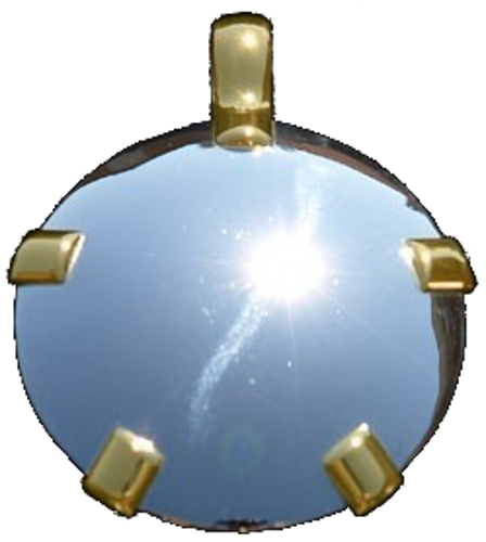 BioElectric Shield - Level 3: Sterling Silver Round Pendant w/14K Gold Tabs (Polished or Satin) (L31)