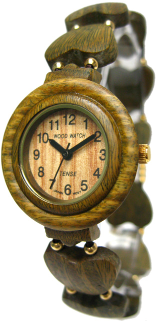 Tense Wooden Watch - Womens Heart-shape Green Sandalwood Beaded Watch - DISCONTINUED