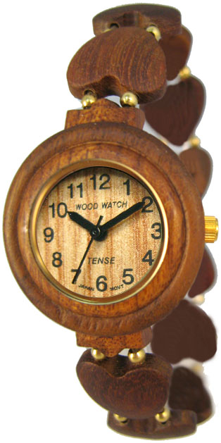 Tense Wooden Watch - Womens Heart-shape Sandalwood Beaded Watch - DISCONTINUED