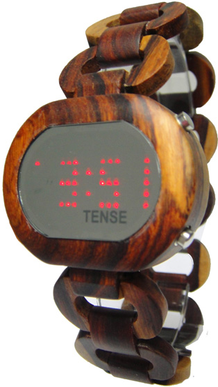Tense Wooden Watch - Womens Oval Digital Dual-Tone Sandalwood Watch- DISCONTINUED