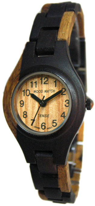 Tense Wooden Watch - Womens Dark Dual-tone Sandalwood Watch - DISCONTINUED