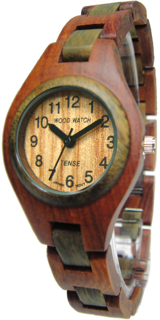 Tense Wooden Watch - Womens Sandalwood/ Green Sandalwood Watch - DISCONTINUED
