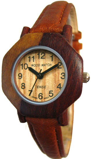 Tense Wooden Watch - Women's Octagon Dual-tone Sandalwood Leather Band Watch