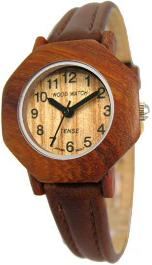Tense Wooden Watch - Womens Octagon Sandalwood Leather Band Watch - DISCONTINUED