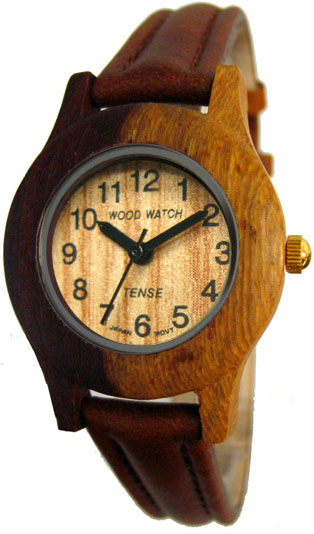 Tense Wooden Watch - Women's Dual-tone Sandalwood Round Leather Band Watch