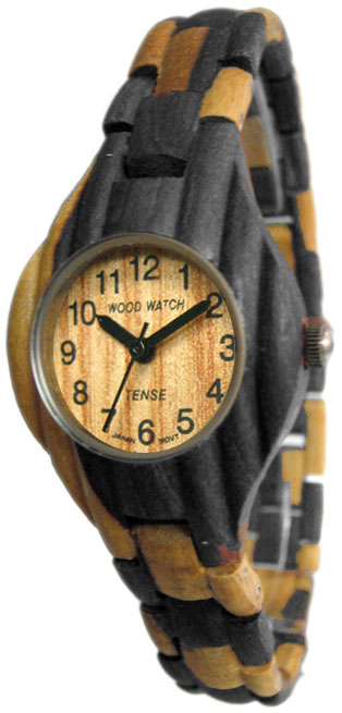 Tense Wooden Watch - Womens Corrugated Dark Dual-tone Sandalwood Watch- DISCONTINUED