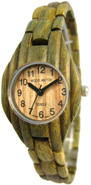 Tense Wooden Watch - Women's Corrugated Green Sandalwood Watch- DISCONTINUED