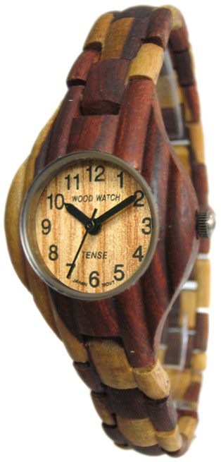 Tense Wooden Watch - Womens Corrugated Dual-tone Sandalwood Watch - DISCONTINUED