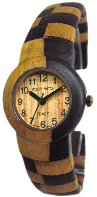 Tense Wooden Watch - Womens Dark Dual-tone Sandalwood Bangle Watch- DISCONTINUED